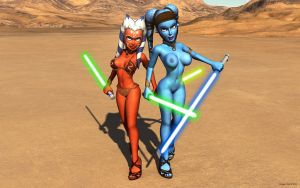 Aayla and Ahsoka sexy by nemecsekerno