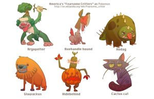 'Fearsome Critters' as Pokemon by zesung