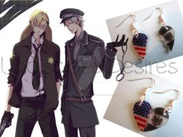 APH - America x Prussia - Half Heart Earrings by Undisclose--Desires