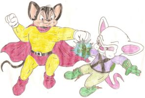 Mighty Mouse vs The Brain by Jose-Ramiro