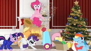 Mane 6 On Christmas Morning by Macgrubor