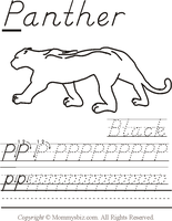 Mommysbiz | P-Panther-Black Preschool Worksheet by DanaHaynes