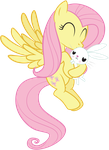 Fluttershy Kissing Angel by juniberries