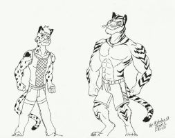 A Tuff Snow Leopard and A Buff Tiger by eon54