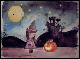 Little Witch and Happy Pumpkin by WhiteSylver