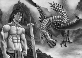 Dragon vs Human by fradarlin