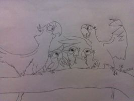 Bird-Lover25's request 2 of 2-Blu, Jewel, and kids by RIO4ever1
