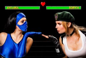 Kitana Vs Sonya by MissSinisterCosplay