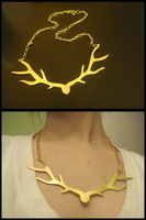 Antler Necklace by cake-monsterr