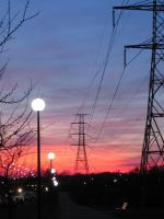 Powerline in sunset III by J--K