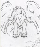 Winged Wolf Sketch NotFinished by DrawingMaster1