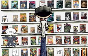 me in a comic book store by soliton