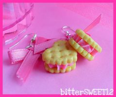 Strawberry Cookie Earrings by bitterSWEETones