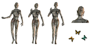 Alien Woman set 1 png by mysticmorning