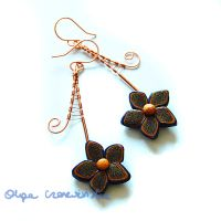 Copper and dark blue flowers by OlgaC
