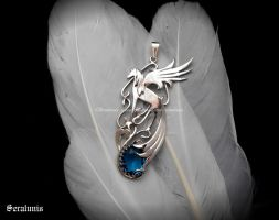 'Midnight vision' handmade sterling silver pendant by seralune