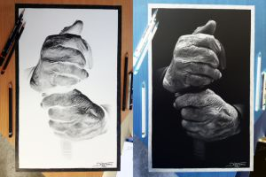 Old Hands Inverted Pencil Drawing by AtomiccircuS