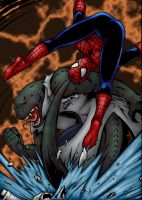 Spider-man vs Lizard by jeaf7