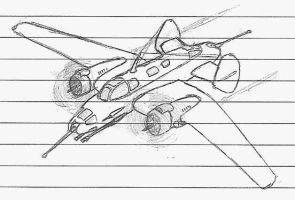 Lecture sketches - Heavy Escort Fighter by packie1984