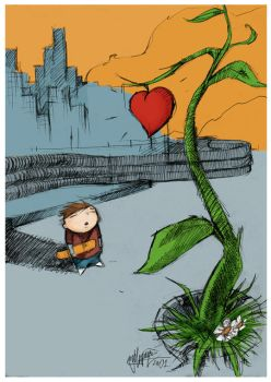 The kid and the heart tree by angellupianez