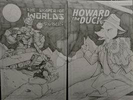 Shaper of Worlds/ Cerebus/ Howard the Duck by steelcitycustomart