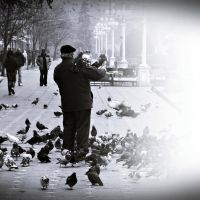 the man with the pigeons by PsycheAnamnesis