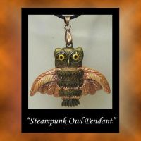 SteamPunk Owl Polymer Clay Pendant by KabiDesigns