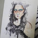 girl sketch watercolor by Mafin10