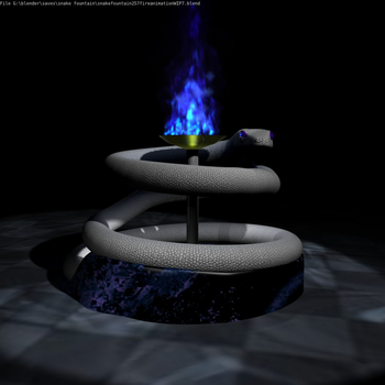Snake fountain w/ fire by Wolvenmoon