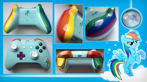 Rainbow Dash Custom Xbox One Controller by CARDI-ology