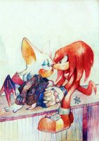 Rouge and Knuckie by arina-ivanova-1999