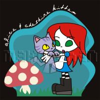 Alice + Cheshire kitten by analage