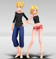 TDA Rin and Len Casual Clothing MMD download by Reon046