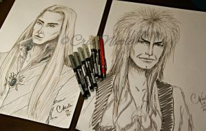 Thranduil and Jareth (training with brush pen) by Cris-Nicola