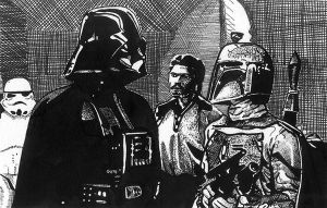 Vader, Fett and Billy Dee by Kenpudiosaki