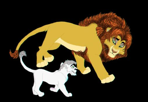 male lion and cub by coolrat