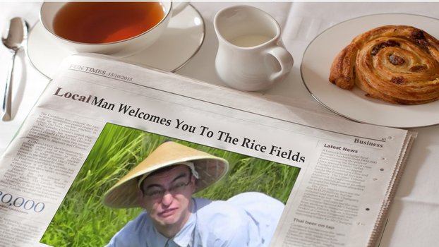 Local Man Welcomes You To The Rice Fields by EnderWriter