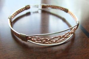 Braided Copper Silver Bangle by pixie-trick