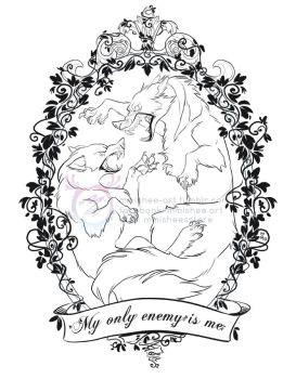 Fighting Wolves Tattoo design by mmishee
