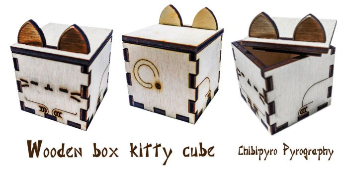 Wooden box cube kitty by ChibiPyro