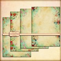 Shabby floral green paper grunge style by miabumbag
