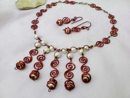 Copper wire necklace and earring by Mirtus63