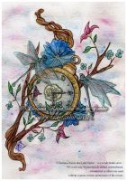 Tattoo Commission :: Clock and Flowers by Fanhir