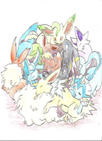 Sleepy eevee evolutions by lemonthecombustible