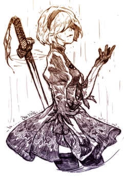 NieR Automata sketch 3 by Qin-Ying
