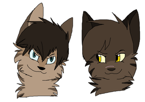 Hawkfrost and Tigerstar Headshots by animalhabitat