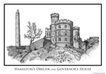 Hamilton Obelisk and Governor's House (HiRes) by AHamiltonSketches