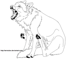 Wolf MS Paint lineart by TerraClaw