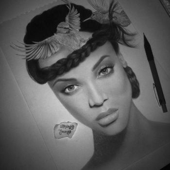 Tyra Banks  birds (done) by Aeriz85