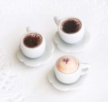 1/6 scale cappuccino and black coffee by BadgersBakery
